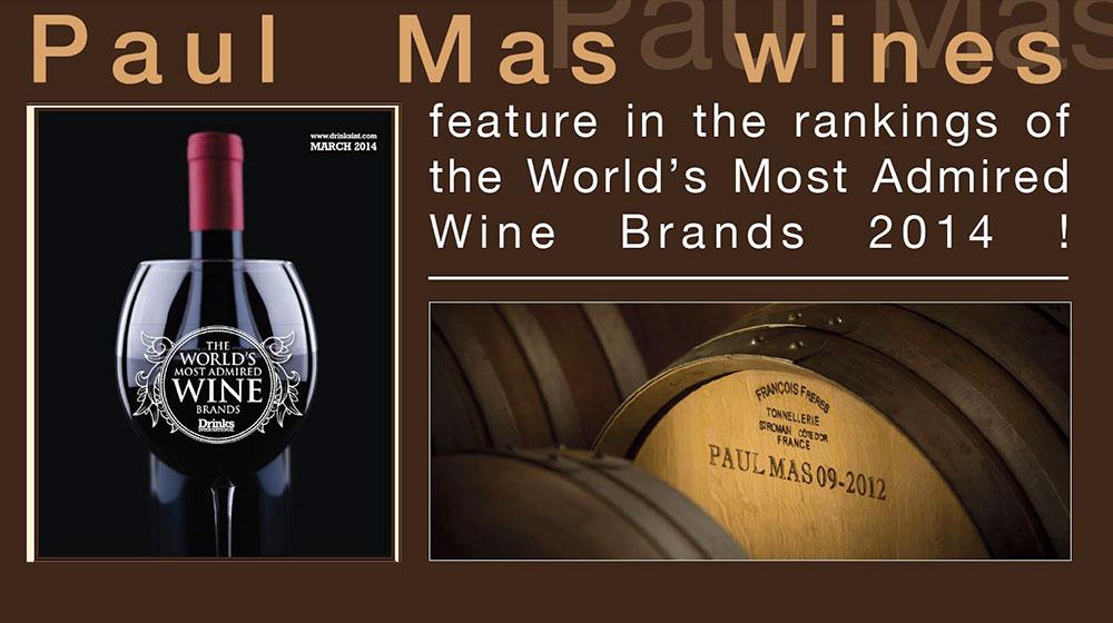 DRINKS INTERNATIONAL: Paul Mas ranked #30 World's Most Admired Wine Brand